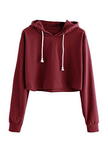 MAKEMECHIC Women's Casual Long Sleeve Pullover Hoodies Crop Tops Sweatshirt A Burgundy S