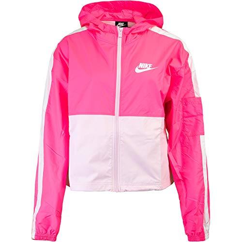 Nike Chaqueta tejida para mujer. rosa y blanco S