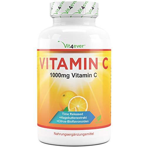 Vitamin C 1000mg - 365 Tabletten im Jahresvorrat - Time Released Effekt - Laborgeprüft - Vitamin C + Hagebuttenextrakt + Citrus-Bioflavonoide - Vegan - Hochdosiert