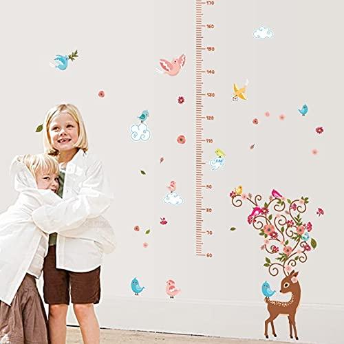 Medición de animales de dibujos animados pegatinas de pared mariposa colorida regla de altura de ciervos para niños r decoración de la mesa de crecimiento del cuarto de niños arte de la pared