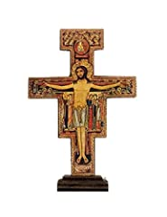 """This Freestanding San Damiano Cross is imported from Italy It is Handmade of Olive Wood by Local Artisans in Assisi It is 5.5"""" High and 4"""" Wide It is embellished with 24K Gold Powder 5"""" x 7"""" Prayer Card Included. (suitable for framing)"""