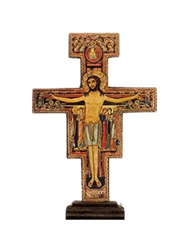 San Damiano Desiderata Galeriemarke San Damiano, stehendes Kruzifix aus Olivenholz