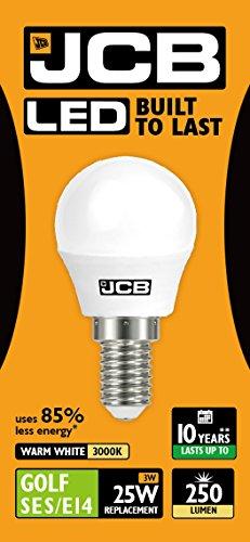 JCB LED Golf Opale E14 Ampoule à économie d'énergie, verre, Blanc chaud/K, E14, 25 Watts
