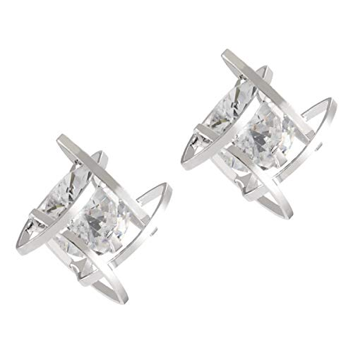Hi Collie Silver Princess Round Cubic Zirconia Stud Earrings for Women Men White Gold Plated Brilliant Square Earring Studs Hypoallergenic Diamond Crystal Square Ear Earrings for Women Girls (Silver)