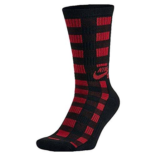 NIKE SB Buffalo Plaid Crew - Calcetines para Hombre, Color Negro/Rojo, Talla S