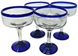 Mexican Hand Blown Glass – Set of 4 Hand Blown Margarita Glasses (16 oz)...