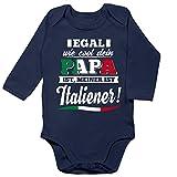 Shirtracer Sprüche Baby - Egal wie Cool Dein Papa meiner ist Italiener - 6/12 Monate - Navy Blau - Baby Body Italien - BZ30 - Baby Body Langarm