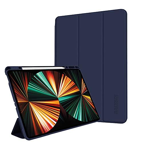 GAURUN iPad Pro 12.9 (2021 第5世代 / 2020 第4世代 / 2018 第3世代) 用 スマートカバー ケース ネイビー アップルペンシル 充電 ペアリング 収納 撥水 電源管理
