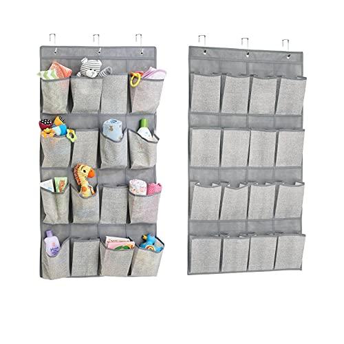 mDesign colonne de rangement suspendue en tissu (lot de 2) – étagère suspendue avec 16 compartiments chacun – rangement suspendu en tissu idéal pour le couloir ou la chambre à coucher – gris
