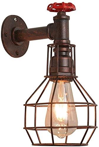 WYZXR Lámpara de Pared Lámpara Industrial de tubería de Agua de Cobre Oxidado con decoración de válvula de Grifo Lámpara Steampunk E26 Lámpara Decoración de Granja Dormitorio
