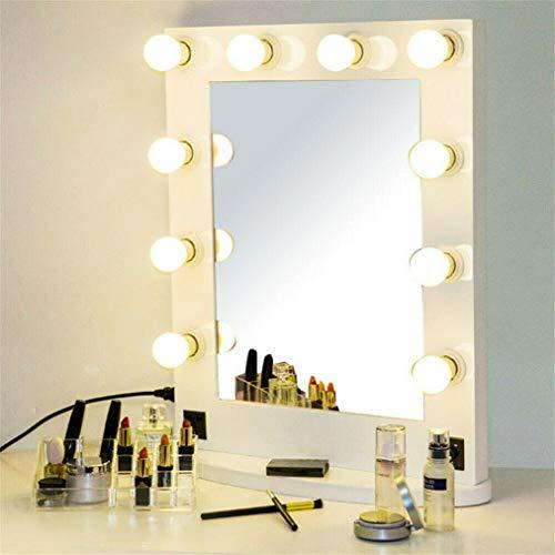 LUVODI Beleuchtete Schminkspiegel, Professionelle Hollywood Kosmetikspiegel für Kosmetikstudio, Salon, weiß Theaterspiegel mit USB Bluetooth Lautsprecher 10 Glühbirnen, 66x55cm