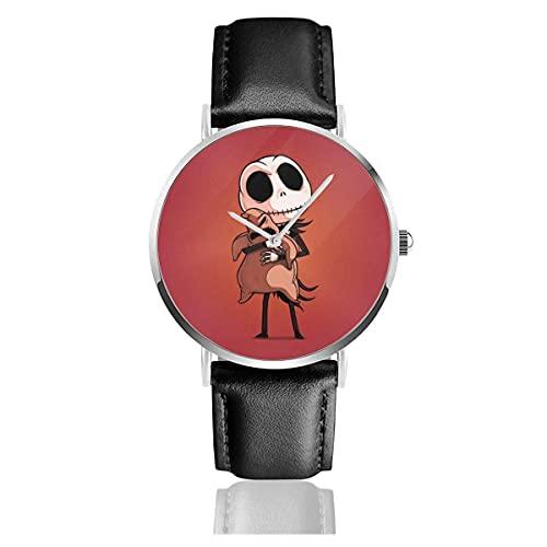 Relojes de Pulsera Cute-Jack Christmas Reloj de Cuarzo con Correa de Cuero de PU para Hombre Mujer colección Regalo Unisex Informal de Negocios