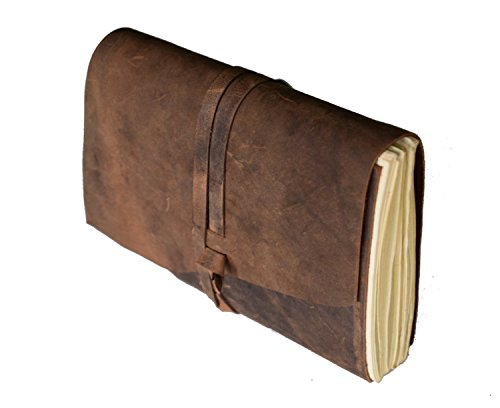 Leather Journal Writing Notebook, Antique Handmade Leather Bound Daily Notepad for Men & Women (Brown Strap)