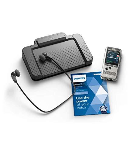 Philips DPM7700 Komplett-Set für Autor und Assistenz, enthält Diktiergerät Aufnahmegerät DPM7200, Fußschalter ACC2330, Stereo-Unterkinn-Kopfhörer LFH0334, Diktier- & Wiedergabe-Software SpeechExec