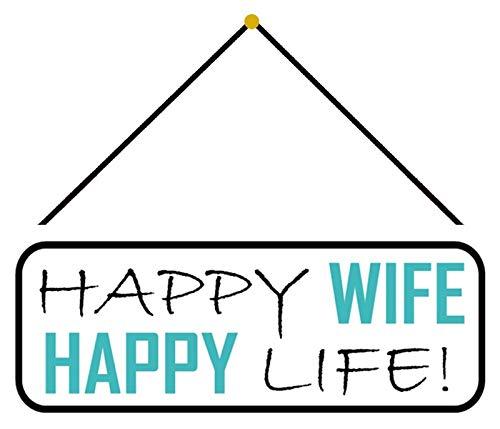 NWFS - Targa in metallo con scritta 'Happy Wife Happy Life', bombata laccata, 10 x 27 cm, con cordino