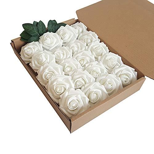 Künstliche Rosen,Schaumrosen,Rosenköpfe Rosenblüten Foamrosen in Creme Brautstrauß DIY Party Hause Hochzeit Deko zum Basteln 20pcs Reines Weiß