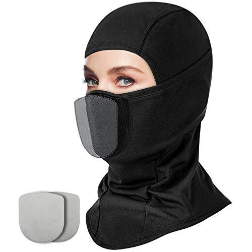 LUXSURE Skimaske Sturmmaske Motorradmaske Sturmhaube Balaclava Maske Herren Gesichtsmaske Damen Fahrradmütze Fahrradmaske Kopfbedeckung Mit 2 Filter Mundschutz Netz Fleece Windmaske