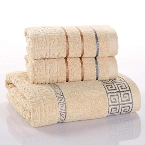 LIFEILONG Toalla de algodón Toalla de baño Caja de Regalo de Tres Piezas Funda de Regalo para Adultos Toalla marrón 01 (75 * 35 cm)