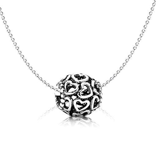 Pandora Hals-Kette Charm mit Herzen 790964 echt Silber 925 - Geschenke für besondere Frauen