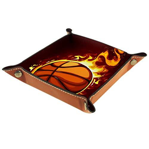 KAMEARI Ledertablett Basketball Fire-01 Schlüssel Telefon Münzbox Rindsleder Münzablage Praktische Aufbewahrungsbox
