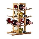 Relaxdays, 42,5 x 30 x 16 cm Botellero para 12 Botellas con 4 Niveles, Bambú, Marrón Natural