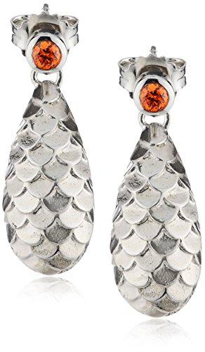 caï women Damen-Ohrstecker 925 Sterling Silber rhodiniert Zirkonia orange