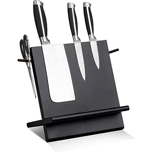Leader Accessories Messerblock Bambus Magnetisch Messerhalter Unbestückt Messerschutz Halter ohne Messer 2-teilig Schwarz(L:24cm)