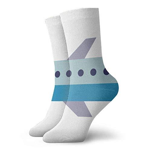 Kevin-Shop cartoon vliegtuig compressiekousen leuk casual crew sokken, dunne sokken korte enkels voor outdoor, atletische moisture wikkeling