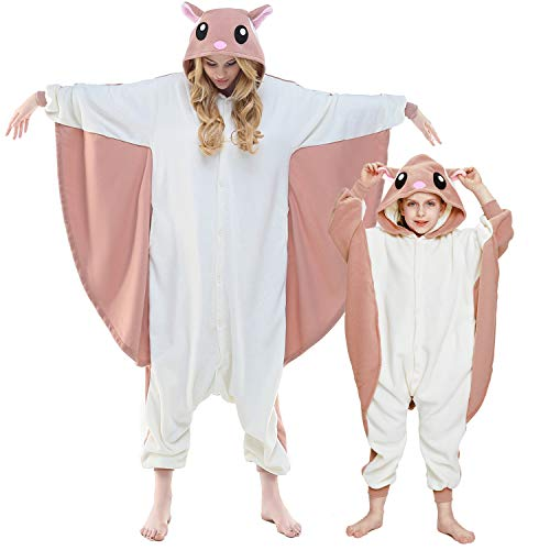 Newcosplay Unisex Aduit Pajamas- Plush One Piece Cosplay Animal Costume S-flying Squirrel,S