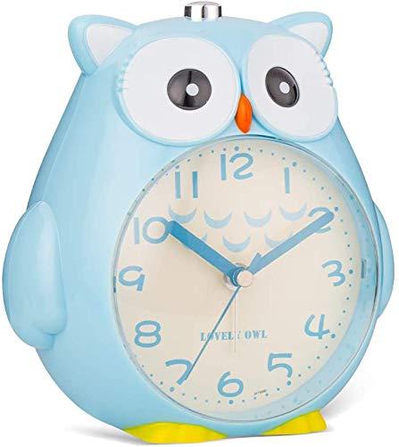 Jiahuade Kinder Eule Wecker,Wecker Kinder ohne Ticken Kinderuhr mit nachtlicht,Schlafzimmer Snooze Funktion Uhr mit Dim...