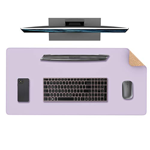 """YSAGi Eco Cork Leather Desk Pad, Ultra Thin Waterproof Large PU Leather Mouse Pad, Dual Use Desk Writing Mat for Office/Home(31.5"""" x 15.7"""", Cork+Purple)"""
