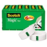 Scotch Magic Tape, 6 Rolls, Numerous Applications, Invisible, Engineered for Repairing, 3/...