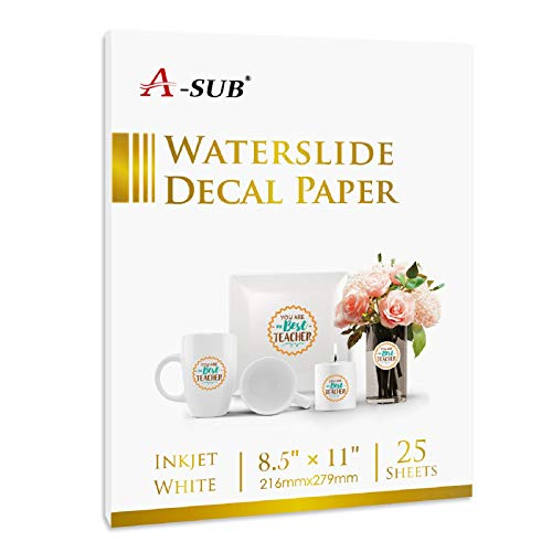 A-SUB Waterslide Decal Paper for Inkjet Printers 25 Sheets White...