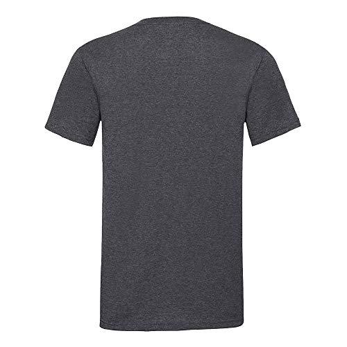Fruit of the Loom Valueweight T-Shirt für Männer mit V-Ausschnitt, kurzärmlig (M) (Dunkelgrau meliert)