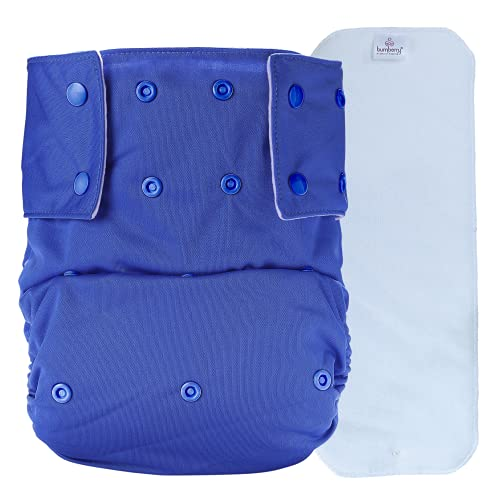 Bumberry Adult Cloth Diaper (Waist Size 28 - 36 inch) Senior Reusable Washable for Older Men and Women with 1 Wet Free Four Layer Inserts for Day and Night Incontinence and Bedwetting, (Blue)