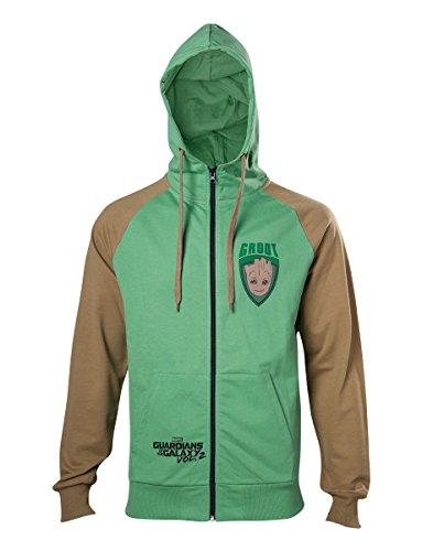 Meroncourt Marvel Comics Guardians Of The Galaxy Vol. 2 Men's Groot Full Length Zipper Hoodie, Extra Large, Green/Tan Sweat à capuche, multicolore, XL Homme