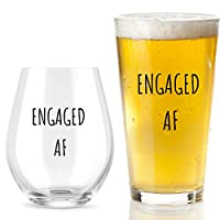 Engaged AF ワイングラスとビールグラスギフトセット - おもしろMr And Mrs 婚約または結婚ギフト - カップル、新婚夫婦、記念日に最適