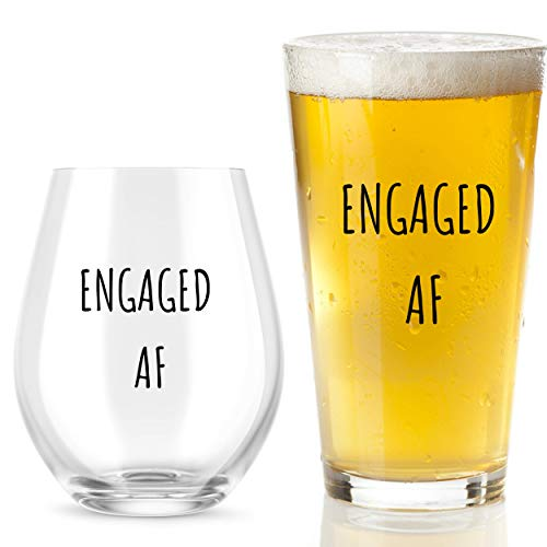 Engaged AF Wine Glass And Beer Glass Set - Funny Mr And Mrs Engagement Or Wedding - Great For Couples, Newlyweds, And Anniversaries
