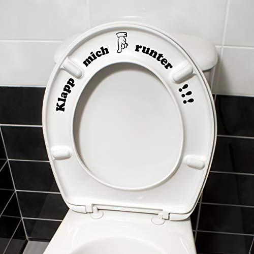 WANDKINGS Toilettenaufkleber Klapp Mich runter!!! 16 x 32 cm - Schwarz - 35 Farben zur Wahl