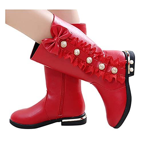 Kinderschuhe Mädchen Prinzessin Schuhe Mode Bowknot Spitze Kniestiefel Anti-Rutsch Sohle Schuhe Kinder Kleinkinder