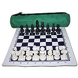 Juego de tablero de juego de ajedrez de viaje Conjunto de ajedrez en rollo con la bolsa de viaje del tablero de ajedrez y la pieza de ajedrez bolsa de terciopelo for niños y adultos Juego de ajedrez p