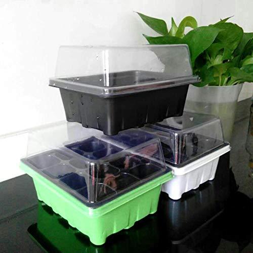 Sytaun 1L 12-buche da Giardino da 12 Semi Scatola per La Germinazione Scatola da Vivaio Scatola per Semenzali Set di Propagatori per Semi Nero