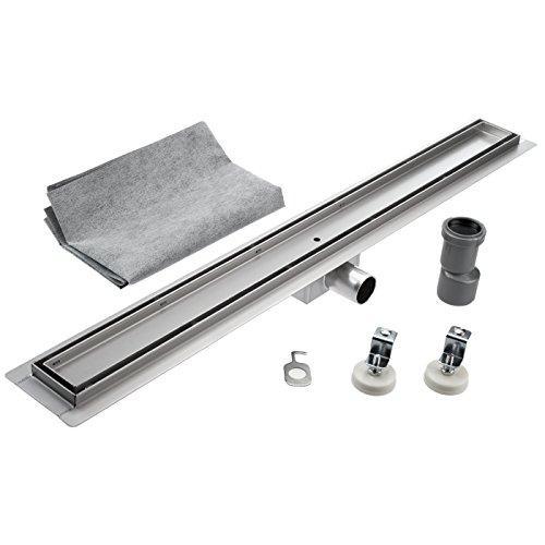 Kobert Goods Douchegoot van roestvrij staal TG01 afvoergoot met sifon als vloer- en doucheafvoer, verkrijgbaar in 10 variaties en verschillende maten van 50-120 cm, verschillende patronen, betegelbaar 110 cm.