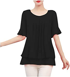 Wuhanahanduanx tshirts for women Lady Solid Coloration Blouse Women Top Chiffon Little Sleeve Casual Shirt Blouse Office W...