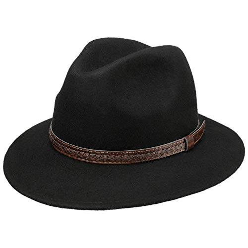 Lipodo Kentucky Wollhut Herren - Hut aus 100% Wollfilz - Filzhut Traveller Outdoorhut mit Ledergarnitur schwarz L (58-59 cm)
