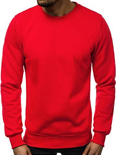 OZONEE Herren Sweatshirt Pullover Langarm Farbvarianten Langarmshirt Pulli ohne Kapuze Baumwolle Baumwollemischung Classic Basic Rundhals-Ausschnitt Sport J. Style 2001-10 L ROT