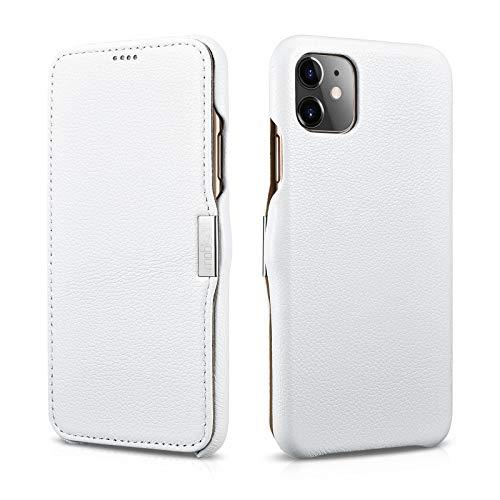 Mobiskin Hülle kompatibel mit Apple iPhone 11 (6,1 Zoll), Handyhülle mit echtem Leder, Case, Schutzhülle, dünne Handy-Tasche, Slim Cover, Weiß