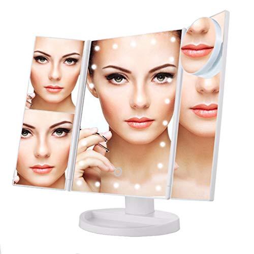 WanYang Espejo Maquillaje, Espejo Cosmético, Espejo Cosmético LED Plegable, Espejo Tríptico de Maquillaje con Iluminación, Rotación Ajustable de 180 °, Espejo Cosmético Encimera