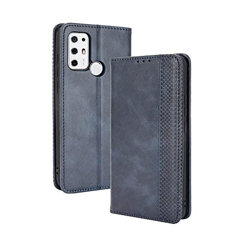 LAGUI Kompatibel med TONE MOBILE TON E21 fodral, retro stil plånbok magnetiskt skydd med kreditkortsplatser och flip-stativ, heltäckande mjukt inre silikonfodral, blå