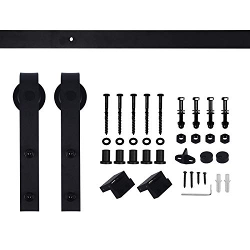"Erfect 6.6 FT Antique Style Barn Door Hardware Sliding Set Wood Door Track Kit Black( ""J"" Basic)"
